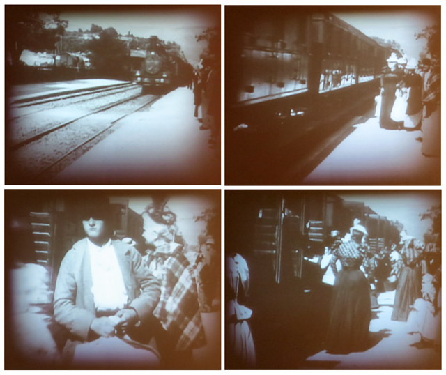 stills from a very early film by brothers auguste and louis lumiere arrival of a train at la ciotat on display at ago toronto impressionism in the age of industry exhibition