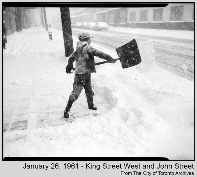 toronto historic photograph snow storm 1961 boy shoveling from city of toronto archives