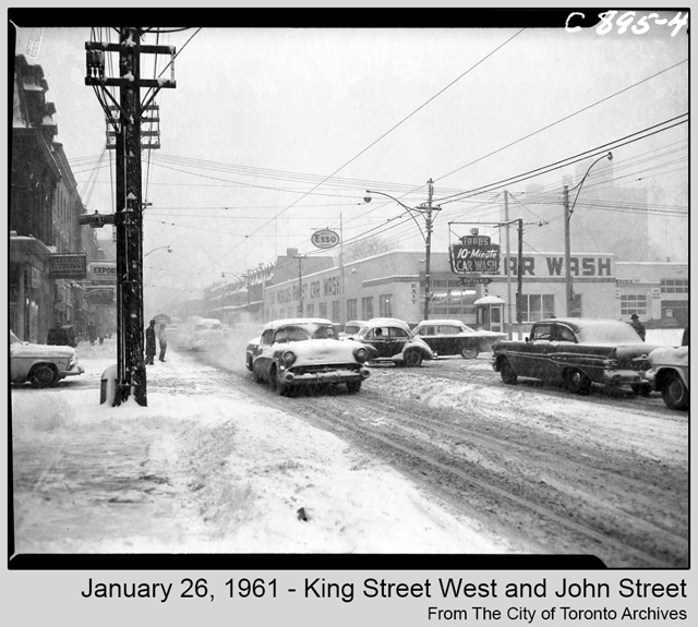 toronto historic photograph snow storm 1961 king street west and john from city of toronto archives