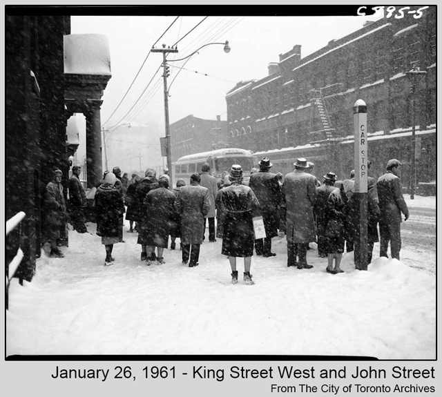 toronto historic photograph snow storm 1961 waiting for streetcar from city of toronto archives