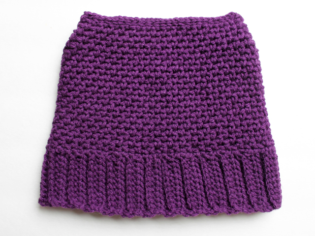 crocheted girls hat before adding pompoms