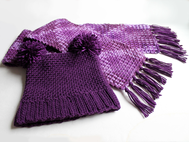 crocheted scarf and hat set for a girl free pattern and photo instructions