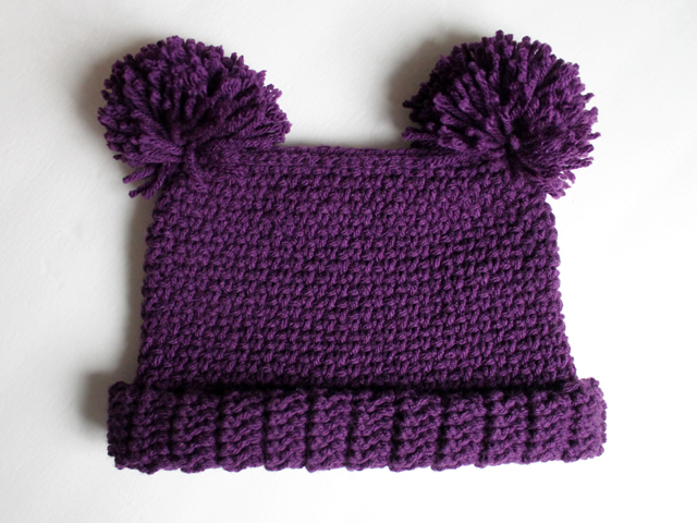 free crochet pattern hat with pompom ears for a child