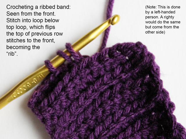 how to crochet a ribbed band