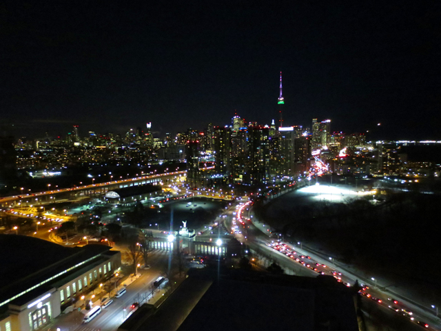 view of downtown toronto from rooftop bar at x hotel cne grounds