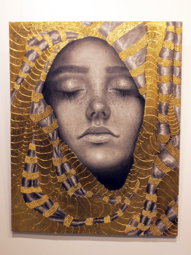 gilded gold and graphite pencil artwork by dalia elcharbini on show at c9 gallery toronto