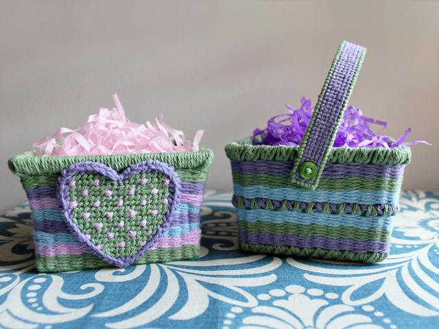 handmade easter baskets cotton yarn woven through berry baskets
