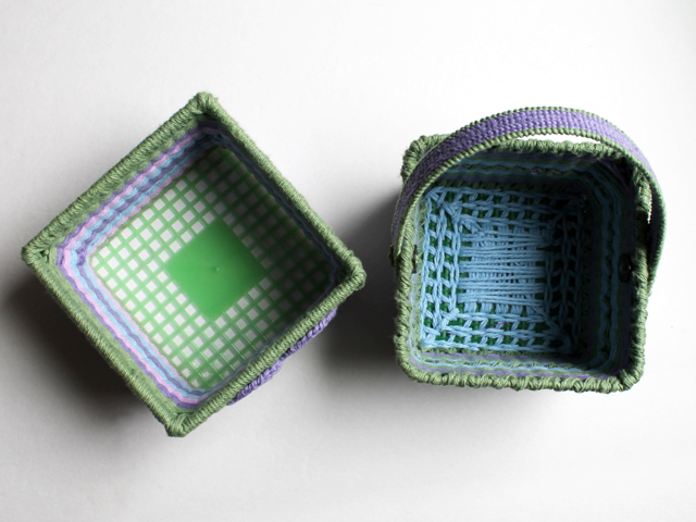 handmade easter baskets made from upcycled berry baskets one finished bottom one left as is