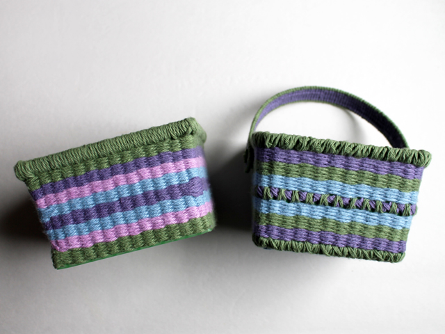 handmade easter baskets made with cotton yarn and plastic berry baskets