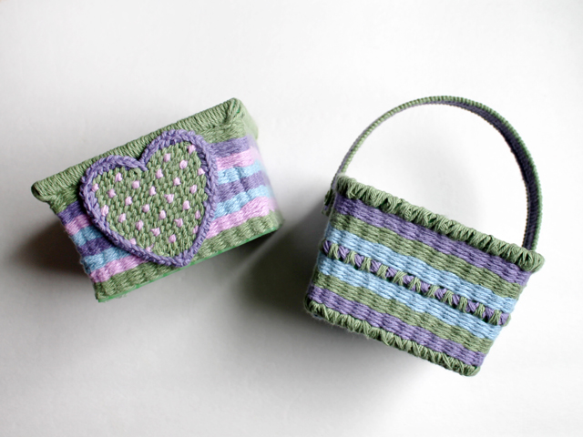handmade easter decorations baskets made with cotton yarn plastic canvas and upcycles berry baskets