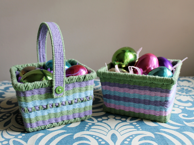 handmade how to diy easter baskets recycled berry baskets and cotton yarn