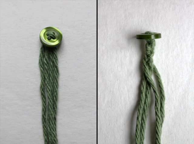 how to make hinge for handle with buttons and yarn