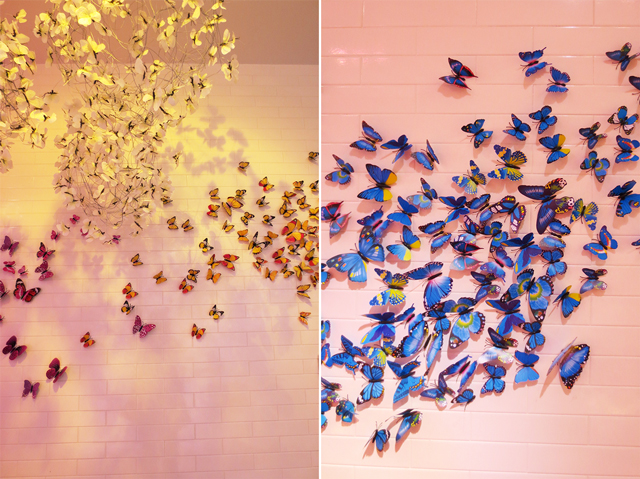 butterfly photo backdrops at the bay queen street west temporary installation