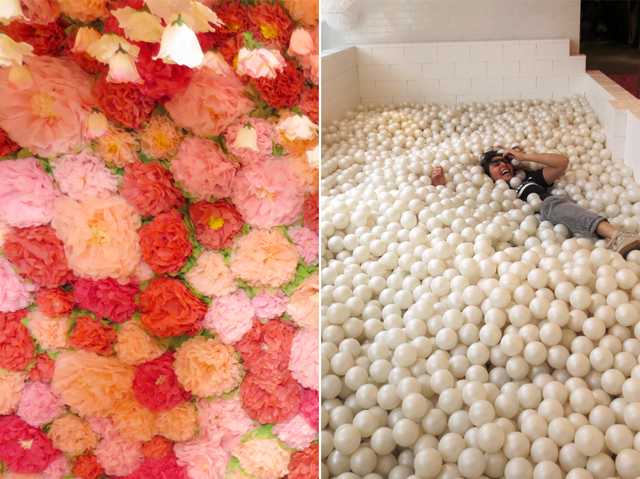 flowers and ball pit backdrops for photos at installation at the bay queen street west toronto