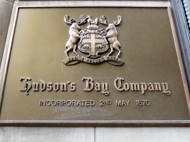 hudsons bay sign and crest downtown toronto