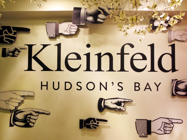 sign for kleinfeld bridal department hudsons bay queen street store seventh floor wedding dresses and bridesmaid dresses