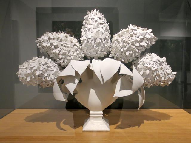 three dimensional print of hydrangias by tm glass on display at onsite gallery ocadu toronto