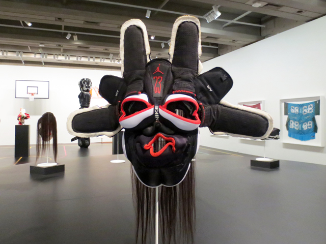 mask made from nike air jordan sneakers sculpture by brian jungen art exhibition ago toronto