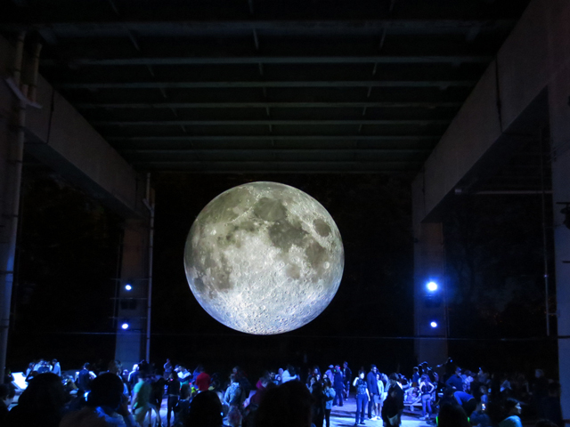 outdoor art installation toronto museum of the moon at the bentway public space