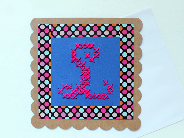 how to make a birthday card initial cross stitched on paper