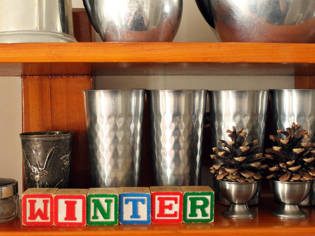 decorating for winter with old things