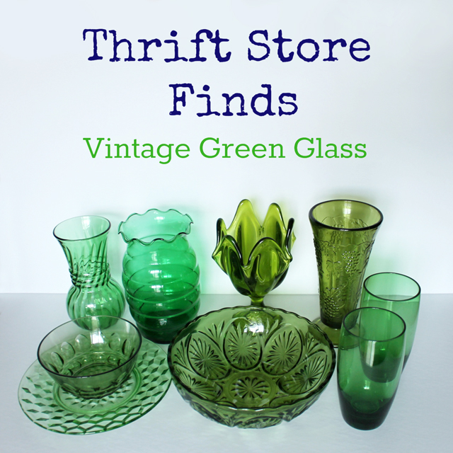 vintage green glass pieces found at thrift store anchor hocking hazel atlas indiana jeannette