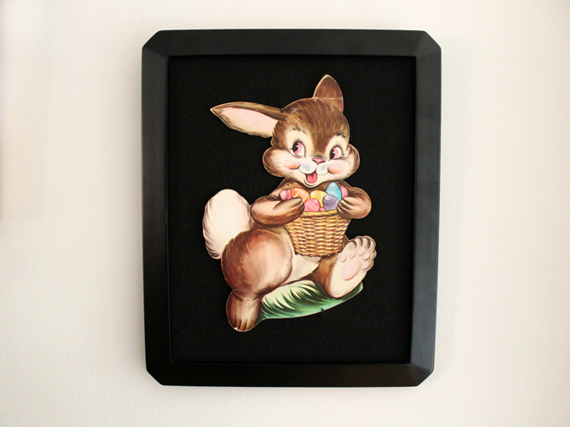 vintage die cut displayed in frame easter bunny with basket of eggs