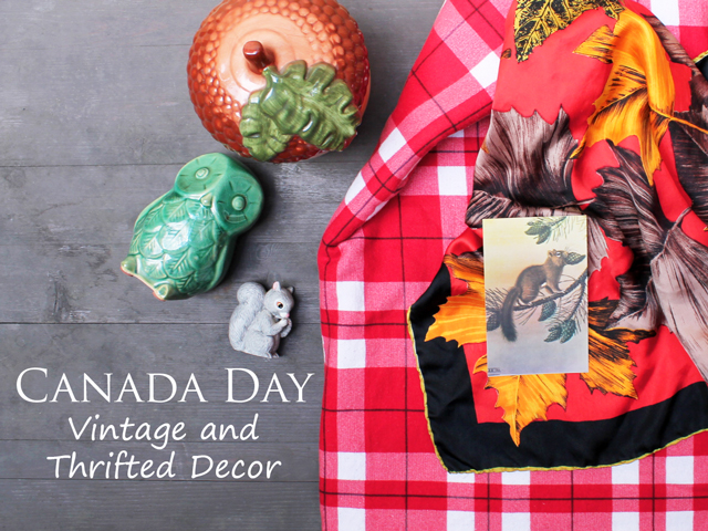 thrift store and ebay finds for canada day decorating