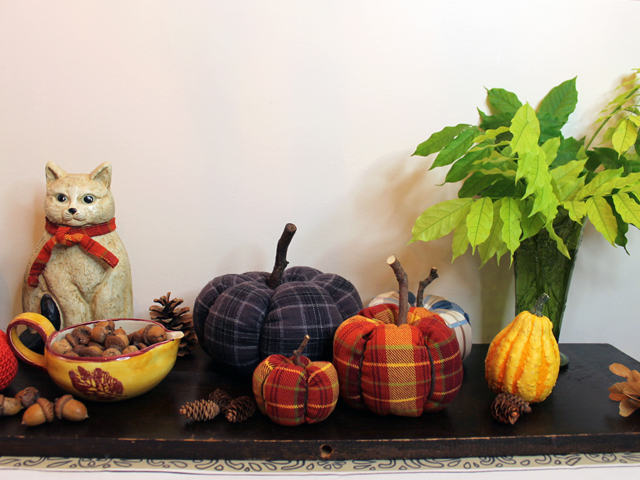 autumn display with handmade pumpkins how to make with fabric fall diy