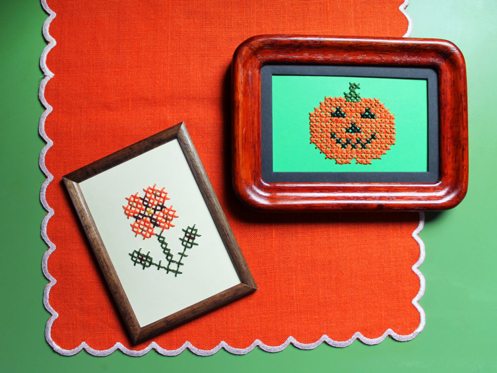 cross stitching on paper video tutorial free patterns autumn halloween handmade decor 1024x768