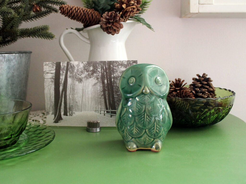 decorating for winter with thrifted vintage pieces ceramic owl figurine 1024x768