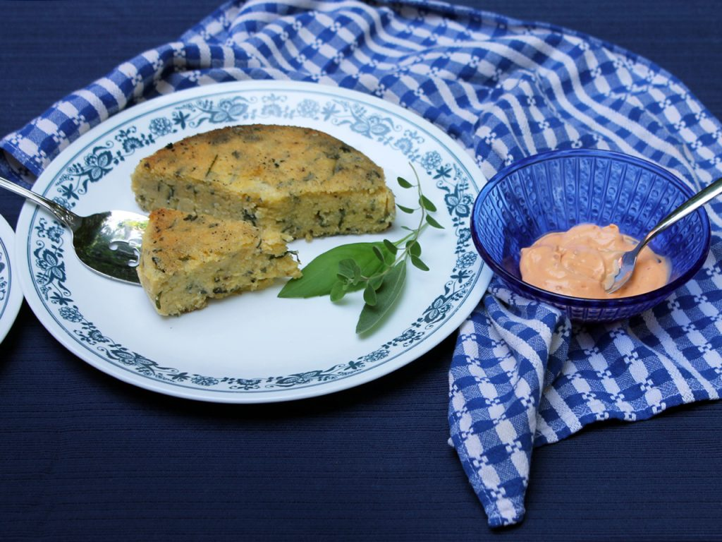 grilled polenta savory cake vegetarian barbecue side dish or appetizer with spicy mayo sauce 1024x768
